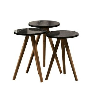 3er Set Beistelltisch Couchtisch Stapeltisch Zigon Rund Marmoroptik Schwarz Holz