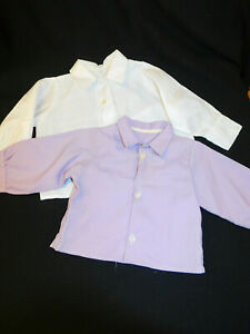 2 Handmade Auth Lancaster Co PA AMISH Little BOYS SHIRTS White Lavender 12mo 2T