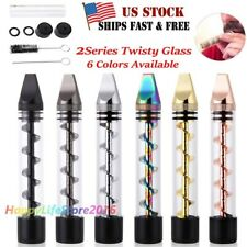 New Designed 2Series Smoking Twisty Glass Blunt Pipe Obsolete With Cleaning Kit