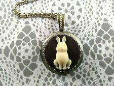 N77 Lovely Rabbit Hare Cameo Locket Necklace Easter Birthday Great Gift For Her
