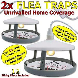 Electric Flea Trap Killer Lamp Home 2 x Pest Control Sticky Refill Non-Poisonous