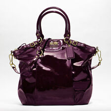 COACH MADISON LINDSAY PATENT LEATHER LARGE SATCHEL PURSE 18627 PLUM $428-RARE