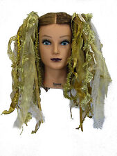 Dreadful Falls Gold Ribbon Gothic Fairy Hair Falls Extensions Belly Dance