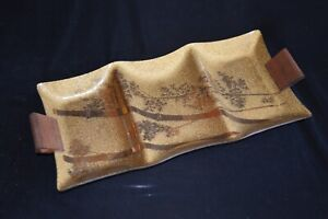 "Mid Century Modern Gilt Gold 19"" Glass Divided Serving Dish Bamboo Teak Handles"