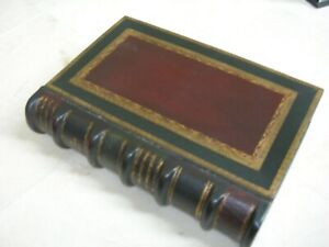 Maitland Smith Gold Tooled Navy and Burgundy Leather Faux Book Storage Box