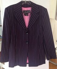 Laurel Blazer Jacket Size 36 Navy Pink Pinstripe 100% Wool 2 Button