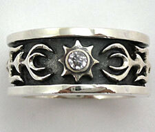CELTIC DIAMOND TRIBAL TATTOO 925 STERLING SILVER MENS RING Sz 7.5 NEW BIKER ROCK