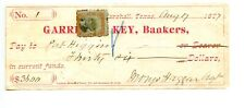 1877. Marshall, Texas Garrett & Key Bankers Revenue  Check