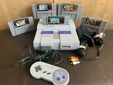 CLEAN TESTED Super Nintendo SNES System Console Bundle-5 Games-Super Mario Kart