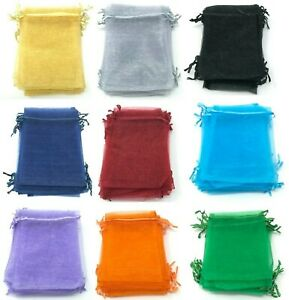 100x Organza Bags Wedding Favour Jewellery Gift Party Mesh Pouches Drawstring
