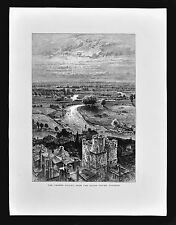1874 Print - The Thames Valley from the Round Tower, Windsor Castle England UK