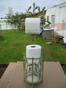 Free Standing Toilet Paper Roll Holder for Bathroom Storage~ Light Green LEAVES