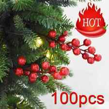 100X Mini Christmas Foam Frosted Fruit Artificial Holly Berry Flower Home Decor