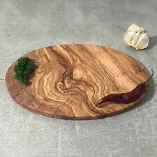 Medium Cutting Board Olive Wood / Breakfast Serving Board / oval, handcrafted