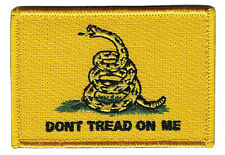 """3x 2"""" Yellow Don't Tread On Me Gadsden with Velcro® Brand Hook Fastener Patch"""