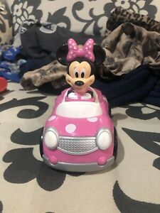 Disney Minnie Mouse Pink Car with Polka Dots Push and Go Racers Used