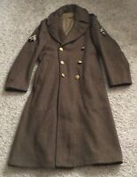 VTG 1942 WW2 Army Wool Roll Collar Trench Coat Over Winter Jacket Size 36L Medic