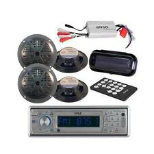 New Marine CD SD MP3 AM/FM Radio Stereo & Bluetooth + 800W Amp 4 Speakers /Cover