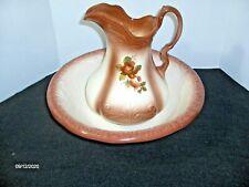 New listing Vintage Ironstone Like Brown Rose Ceramic Pottery Wash Basin Bowl & Pitcher