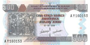 Burundi 500 Francs 2009 Unc pn 45a