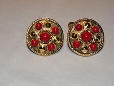 Vintage Estate Gold Tone Garnet Cabochon Cufflinks