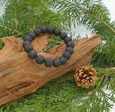 Bracelet Lithothérapie Pierre de Lave Noir Bijoux en Pierre 100% Naturelle Mixte