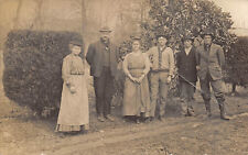 1910s RPPC Real Photo Postcard Men With Women in Men's Hats