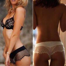 Sexy Lingerie Breathable Fishnet Lace Brief Transparent Underwear G-string Women