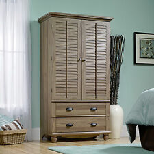 New Sauder Harbor View Armoire Wardrobe Closet  Salt Oak Finish
