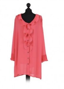 Italian frilled lagenlook chiffon top Coral