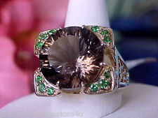 $1933 BEAUTIFUL!  9.2GR 14K QUANTUM CUT SMOKY QUARTZ TSAVORITE GARNET RING