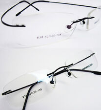 Unisex Black Hingeless Rimless Flexible Eyeglass Frame Eyewear Spectacles RX638