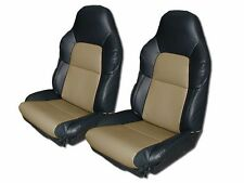 CHEVY CORVETTE C4 STANDARD 94-96 BLACK/BEIGE S.LEATHER CUSTOM FIT SEAT COVER