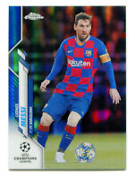 LIONEL MESSI 2019-20 Topps Chrome UEFA Champions Blue Refractor Ref #1 SP 64/150