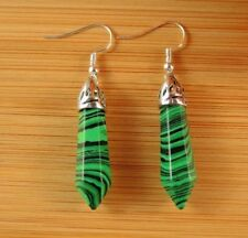 Malachite Gemstone Hexagonal Point Dangle Fashion Earrings #B302