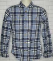 J. Crew Blue Plaid Flannel Shirt Size XS Slim Cotton Button Front Long Sleeve