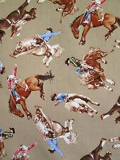 Western Rodeo Cowboy's & Horses Khaki Benartex #6077 By the Yard