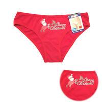 Ladies Merry Christmas Red Santa Design Briefs Knickers Panties Underwear