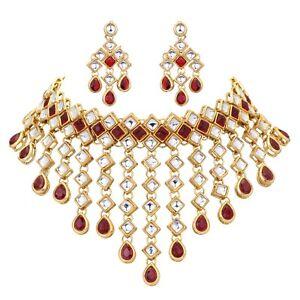 Indisch Bollywood Hochzeit Braut Halskette Ohrring Set Rot Choker Kundan Schmuck
