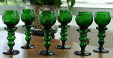 6 antike Theresienthal Weinrömer grün mit Traubendekor handgeschliffen um 1920