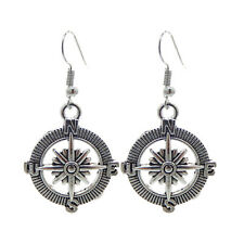 1 Pair Bronze&Silver Alloy Compass Box and Needle Earrings Dangle Earring Hooks