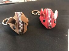 Rare Mice Key Chains Brown & Red Mouse With Zipper Pocket Mice Key Chain