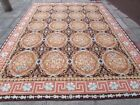 Old Hand Made French Design 12 x 9 Wool Brown Large Original Aubusson 367X268cm