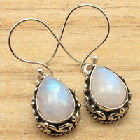 Blue Fire RAINBOW MOONSTONE Earrings ! Silver Plated Over Solid Copper Jewelry