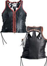 Harley Davidson Leather Racer Vest Two-Way Zipper Front Cutout Back 97162-13VW M