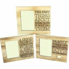 Wood Wooden Box Picture Photo Frame Cut Out Words Family Memories Friends Gift