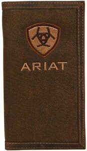 Ariat Mens Embroidered Logo Oilskin Leather Cotton Rodeo Checkbook Wallet, Brown
