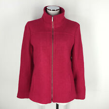 Lands' End 10 Raspberry Pink Boiled Wool Zip Coat Jacket Excellent