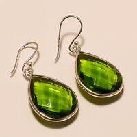 6.10 Gm 925 Solid Sterling Silver Fine Earrings Peridot Earrings Gemstone i-1148