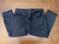 Lucky Brand 14 32 Sofia Skimmer Skinny Ankle Black Capri Stretch Jeans 35x24